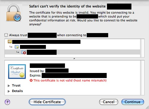 Safari certificate name mismatch